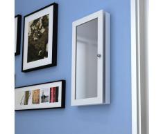 vidaXL Espejo joyero de pared madera, blanco con una puerta