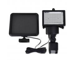vidaXL Lámpara solar foco de LED exterior con sensor, negra