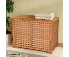 vidaXL Cesto para ropa sucia madera maciza nogal 89x46x67 cm