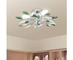 vidaXL Lámpara de techo con forma hojas, cristal acrílico blanco y verde