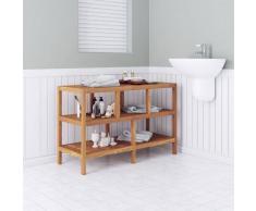 vidaXL Estantería de cuarto baño 100x40x65cm madera maciza nogal