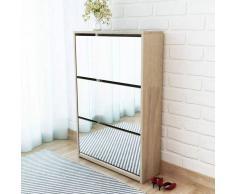 vidaXL Mueble zapatero de roble con 3 compartimentos espejo