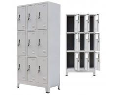 vidaXL Armario taquilla con 9 compartimentos acero 90x45x180 cm gris