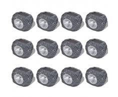 vidaXL Foco decorativo solar LED en forma de piedras, para el jardín, 12 uds.