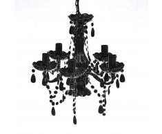 vidaXL Lámpara de araña con cristales negros 5 bombillas