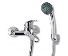vidaXL Kit de grifo mezclador para ducha baño cromado