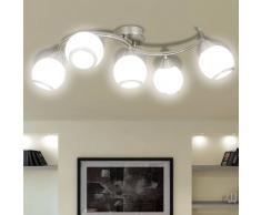 vidaXL Lámpara de techo con pantallas cristal y soporte curvado
