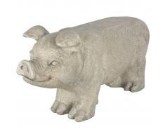 Esschert Design Banco de piedra para jardín cerdo gris AV13