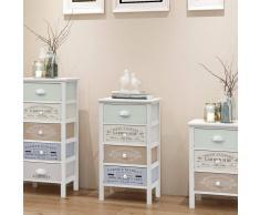 vidaXL Gabinete de almacenaje francés Shabby Chic 4 cajones madera