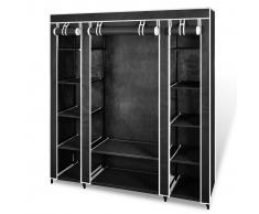vidaXL Armario de tela compartimentos y varillas 45x150x176cm negro