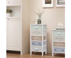 vidaXL Gabinete de almacenaje francés Shabby Chic 5 cajones madera