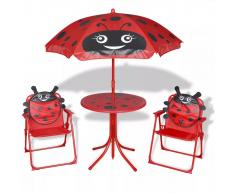 vidaXL Juego de mesa y sillas jardín infantil con sombrilla rojo