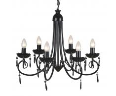 vidaXL Lámpara araña de techo negra con cristales y seis elegantes focos