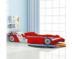 vidaXL Cama con forma de coche carreras para niños 90x200 cm roja