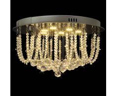 vidaXL Lámpara de araña, candelabro con cristales y luces LED, 45 cm