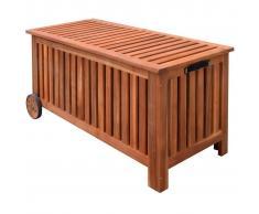 vidaXL Baúl almacenamiento de cojines jardín madera 118x52x58 cm
