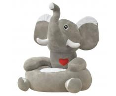 vidaXL Silla de peluche para niños elefante gris