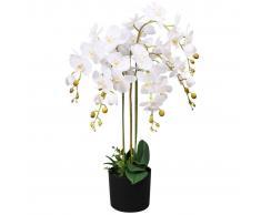 vidaXL Planta artificial orquídea con macetero 75 cm blanca
