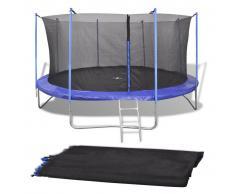 vidaXL Red de seguridad para cama elástica redonda 4,57 m negra PE