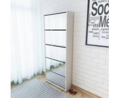 vidaXL Mueble zapatero 5 cajones con espejo blanco 63x17x169,5 cm