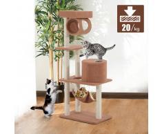 PawHut Árbol para gatos Rascador 140cm con Caseta Plataformas Hamaca Tubo de Juego Tablero de Madera Cubierto de Felpa Marrón