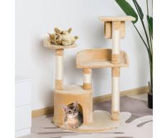 PawHut Árbol para gatos Rascador con Plataforma Caseta Tubo de Juego Tablero de Madera y Cubierto de Felpa Beige - 60x60x96cm