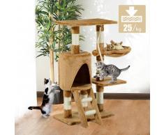 PawHut Árbol para gatos Rascador con Nido Plataforma Caseta Escalera Cuerda de Juego Tablero de Madera y Cubierto de Felpa - Marrón - 30x55x96cm