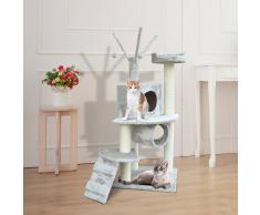 PawHut Árbol para gatos Rascador 120cm con Caseta Plataformas Escalera Bolas de Juego Tablero de Madera Cubierto de Felpa Gris