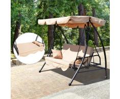 Outsunny Columpio Balancín de 3 Plazas Convertible en Cama para Jardín Terraza Patio o Aire libre con Techo Parasol Ajustable y Cojín Almohada de Acero Color Beige Carga máx. 340kg - 200x125x170cm