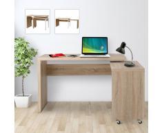 HOMCOM Mesa de Ordenador Rotatoria tipo Escritorio Extensible Multi-Formas - Mueble Moderno de Roble
