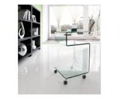 Mesa auxiliar cristal con ruedas s