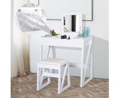 HOMCOM ® Mesa para Maquillaje Tocador con Taburete Espejo Tapa Abatible 9 Compartimientos de Almacenaje 80x50x76cm