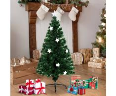 HOMCOM Arbol de Navidad Verde Φ60x120cm + Luces LED Arbol Artificial