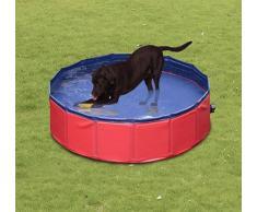 PawHut Piscina para Perros Plegable Rojo y Azul Oscuro PVC PET Tablones Φ160x 30cm