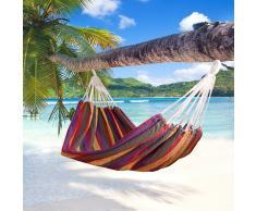 Outsunny Hamaca para Colgar en Jardín Piscina Playa o Camping - Multicolor Morado - 70% Algodón - 210x150cm
