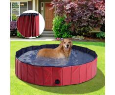 PawHut Piscina para Perros Mascotas Rojo PVC Φ140x30cm