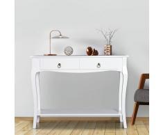 HOMCOM ® Mesa Consola Aparador Salón Comedor Mueble Recibidor con Cajones y Estante 100x33x76cm