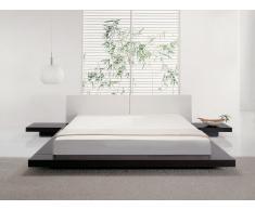 Cama estilo japonés - Cabecera de piel - Con mesitas de noche - Somier incluido - 180x200 cm - ZEN