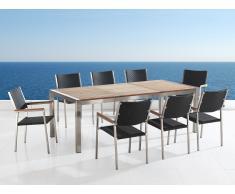 Conjunto de jardín - Tablero de madera - Mesa 220 cm con 8 sillas en ratán - GROSSETO