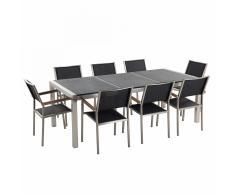 Conjunto de jardín - Granito curtido negro - Mesa 220 cm con 8 sillas de tela - GROSSETO