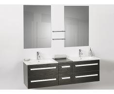 Muebles de baño - Armario de lavabo - 2 lavabos cerámicos - 2 espejos - MADRID negro