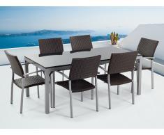 Conjunto de jardín - Granito pulido negro - Mesa 180 cm con 6 sillas de ratán - TORINO