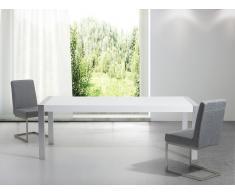 Mesa de comedor - Metal - Blanco y plateado - 220cm - ARCTIC I