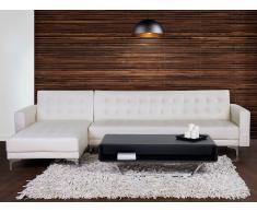 Sofá cama esquinero en piel sintética crema, versión derecha ABERDEEN