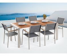 Conjunto de jardín mesa en madera 180 cm, 6 sillas grises GROSSETO