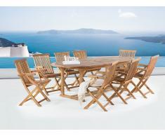 Conjunto de jardín de madera - Mesa - 8 sillas con apoyabrazos - JAVA