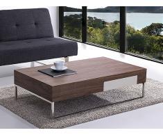Mesa de centro - Cajón - Nogal - Aluminio 120 x 70 cm - GUARDA