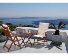 Conjunto de jardín de madera - Mesa - 2 sillas - Cojines en color crema - TOSCANA