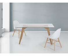 Madera de roble – Mesa de comedor - Vidrio transparente – 160 cm – HUDSON