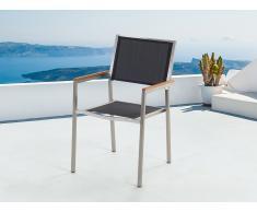 Silla de jardín de acero inoxidable con asiento de tela GROSSETO